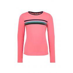 B.Flawless - T-shirt rose festival avec côtelé rayé
