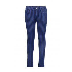 B.Smart - Pantalon en denim rayé noir et cobalt