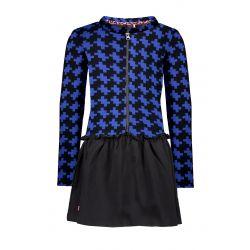 Prévente - B.Smart - Robe avec haut à motif jacquard noir et cobalt et jupe noire