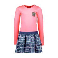 B.Flawless - Robe rose festival avec jupe en voile à carreaux