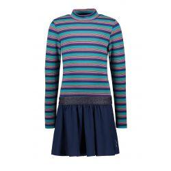 Prévente - B.Active - Robe à corsage rayé et jupe unie bleu espace