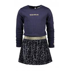 Wannebee Cowgirl - Robe marine avec jupe en velours imprimé