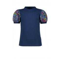 B.Free - T-shirt bleu espace avec manches bouffantes inprimées