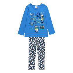Prévente - Garden Party - Ens. T-shirt bleu baltique et legging imprimé