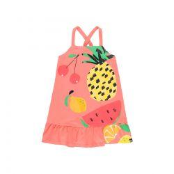 Prévente - Summer Fruits - Robe à bretelles corail