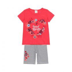 Prévente - Preppy by the Sea - Ens. T-shirt rouge et legging capri rayé