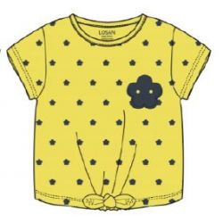 Prévente - Camp Friend - T-shirt jaune moyen avec fleur marine