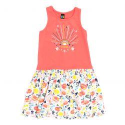 Prévente - Bonjour Soleil - Robe corail à jupe imprimée