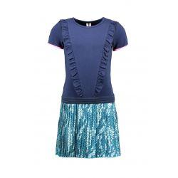 Prévente - B.Good - Robe space blue avec jupe plissée imprimée