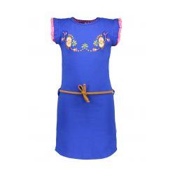 Prévente - B-Curious - Robe cobalt blue avec fleurs brodées