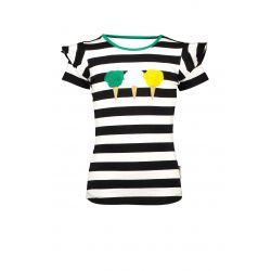 Prévente - B.Cheerful - T-shirt rayé noir avec appliqués