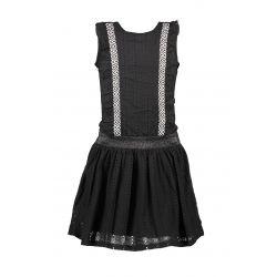 Prévente - B.Sunny - Robe noire avec frisons et jupe en dentelle