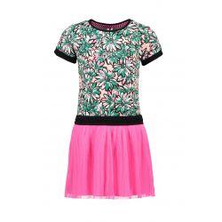 Prévente - B.Sunny - Robe imprimée avec jupe plissée knock out pink