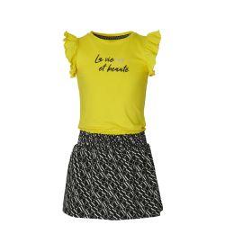Robe jaune avec jupe noire imprimée texte