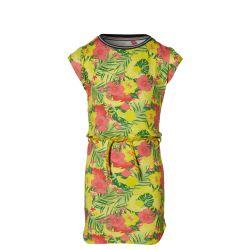 Robe imprimée fleurs multicolores avec ceinture