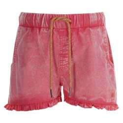 Short en chambray bright coral délavé