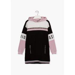 Prévente - Robe à capuchon noire et rose