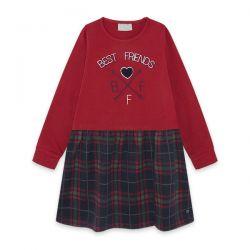 Prévente - Best Friends - Robe rouge avec jupe à carreaux