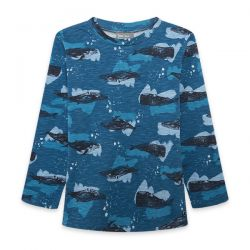 Prévente - Northern Whales - T-shirt bleu imprimé baleine