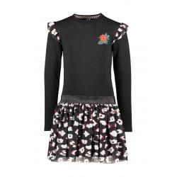 Prévente - B.You - Robe noire avec jupe en tulle imprimé